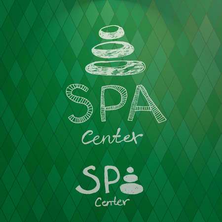 stacked stones: Hand drawn   spa center made from stacked white stones Vector illustration Illustration
