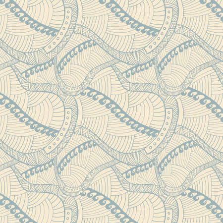 vintage wave: Vintage wave line and curl Hand-drawn abstract colorful vector pattern