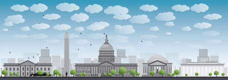 district of columbia: Washington DC city skyline. Vector illustration with cloud and blue sky Illustration