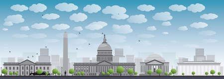 Washington DC Skyline der Stadt. Vektor-Illustration mit Wolken und blauer Himmel Standard-Bild - 38625583