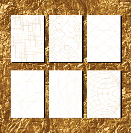 mid century modern: Golden Geometric Patterns with lines for business documents Vector illustration