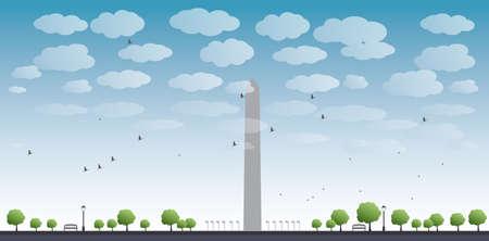 dc: Washington Monument and cloud in blue sky Washington DC Vector illustration