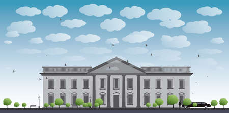 white office: White House Washington DC with Black Silhouette of man and car Vector Illustration