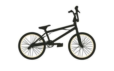 bmx bike: BMX Bike. Black Silhouette on White Background. Isolated Vector Illustration