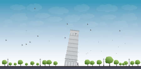 Pisa Tower with blue sky and tourist Vector illustration