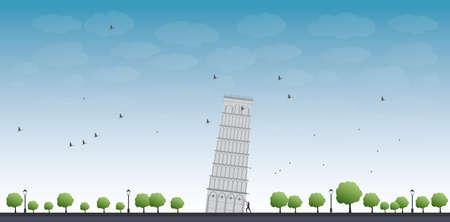 turista: Torre de Pisa com o c�u azul e tur�stico vetor