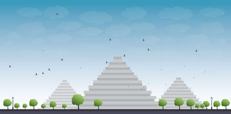 pyramid of the sun: Pyramids in Giza Vector illustration in flat style