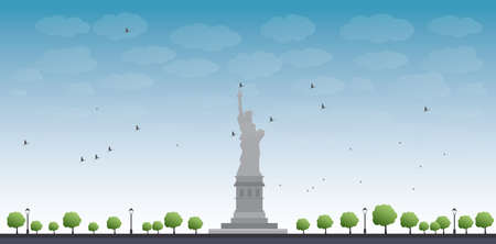 national women of color day: Statue of Liberty New York with Blue Sky and Tree Vector Illustration