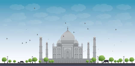 agra: Taj Mahal with Tree and cow. Front view Vector illustration