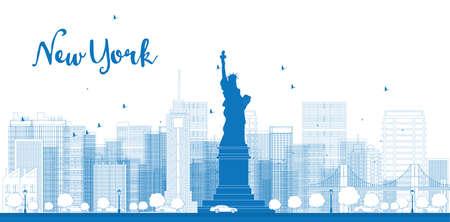 高層ビル、ニューヨーク市のスカイラインを概説します。ベクトル図  イラスト・ベクター素材