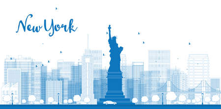 manhattan skyline: Outline New York city skyline with skyscrapers. Vector illustration Illustration