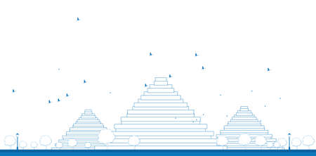 giza: Outline Pyramids in Giza Vector illustration in flat style