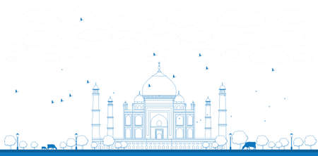 taj: Outline Taj Mahal with Tree and cow. Front view Vector illustration