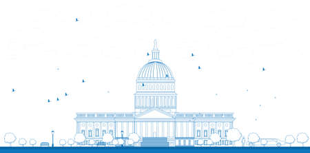 washington landscape: Outline Washington DC Capitol landscape, USA Vector illustration