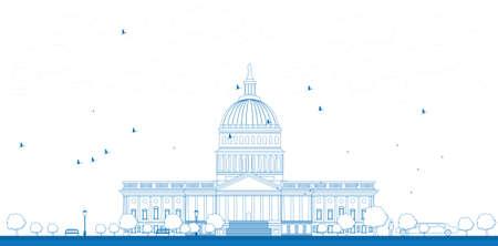 national congress: Outline Washington DC Capitol landscape, USA Vector illustration