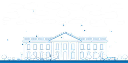 imperialism: Outline White House Washington DC with Silhouette of man and car Vector Illustration Illustration