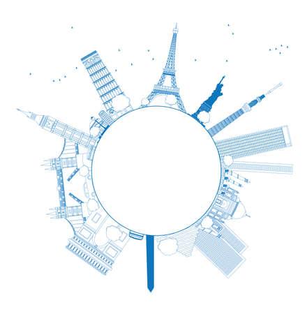 Outline Beroemde monumenten en bezienswaardigheden over de hele wereld. Vector illustratie met kopie ruimte