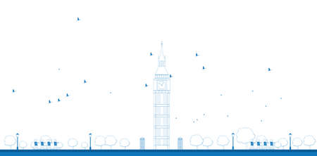 big ben tower: Outline Big Ben Tower in London. Vector illustration