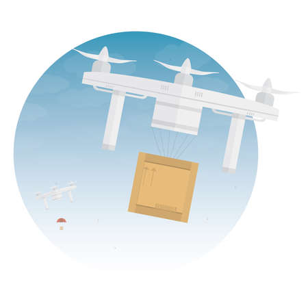 Delivery drone with the package. Vector illustration Vector