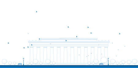 lincoln memorial: Outline Abraham Lincoln Memorial in Washington DC USA Vector illustration
