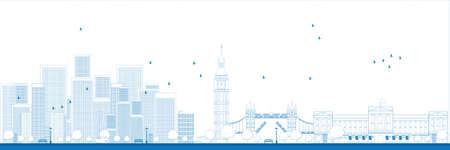 небоскребы: Древовидный Лондон горизонта с небоскребами Векторные иллюстрации