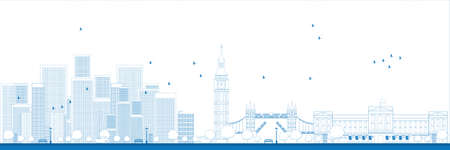 高層ビルのベクトル図とロンドンのスカイラインを概要します。