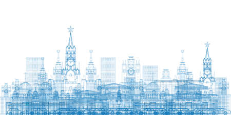 moscow city: Outline Moscow City Skyscrapers and famous buildings in blue color Vector illustration