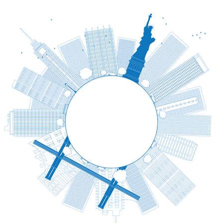 new york skyline: Outline New York city skyline Vector illustration Illustration