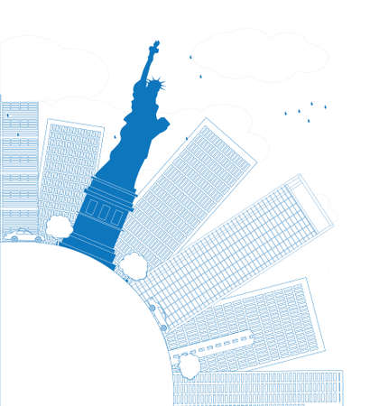 Outline New York city skyline with copy space. Vector illustration