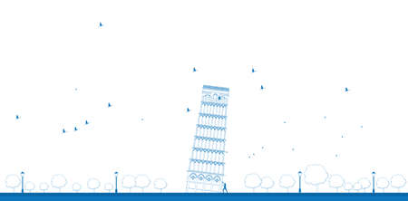 religion: Outline Pisa Tower in blue color. Vector illustration
