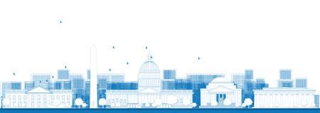 sky scrapers: Outline Washington DC city skyline. Vector illustration in blue color