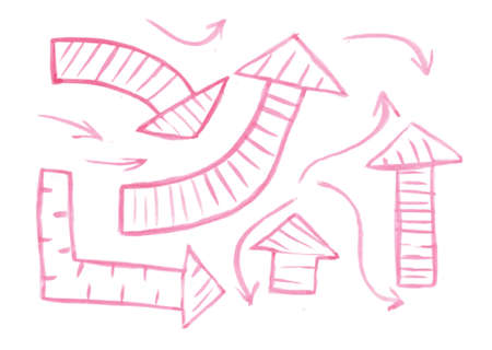 upwards: Set of hand-drawn watercolor arrows Vector illustration