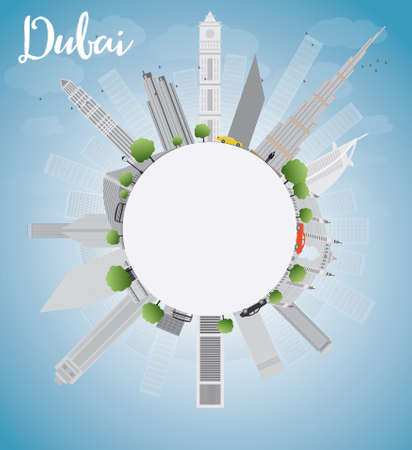 Dubai City skyline with grey skyscrapers, blue sky and copy space. Vector illustration