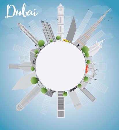 Horizonte de la ciudad de Dubai con los rascacielos grises, cielo azul y espacio de la copia. Ilustración vectorial