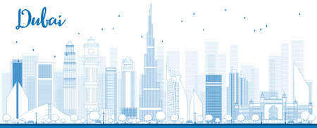 Outline Dubai City skyline with blue skyscrapers. Vector illustration