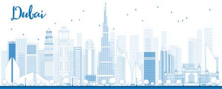 Schetsen Dubai skyline van de stad met blauwe wolkenkrabbers. Vector illustratie Stock Illustratie