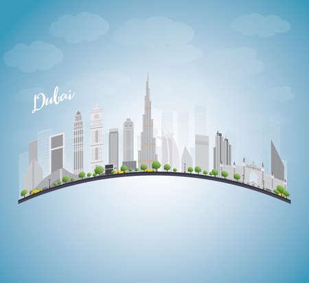 grey sky: Dubai City skyline with grey skyscrapers, blue sky and copy space. Vector illustration