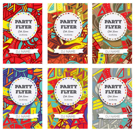 Set of Club Flyers with copy space and hand drawn pattern. Vector illustration Vector