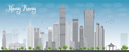 Hong Kong skyline with blue sky and taxi. Vector illustration