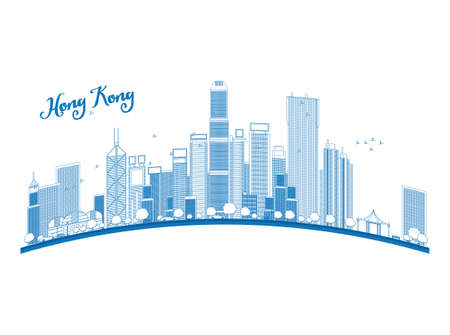 hong kong: Outline Hong Kong skyline with blue skyscrapers and taxi. Vector illustration