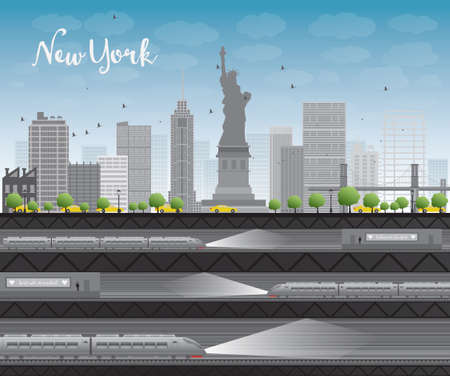 new york taxi: New York city skyline with blue sky, clouds, yellow taxi and train Vector illustration