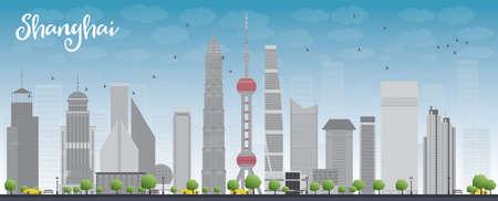 grey sky: Shanghai skyline with blue sky and grey skyscrapers. Vector illustration