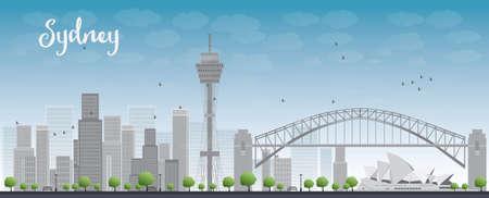sydney australia: Sydney City skyline with blue sky and skyscrapers. Vector illustration