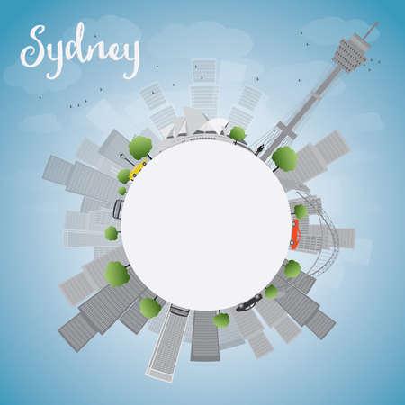 sydney skyline: Sydney City skyline with blue sky, skyscrapers and copy space. Vector illustration