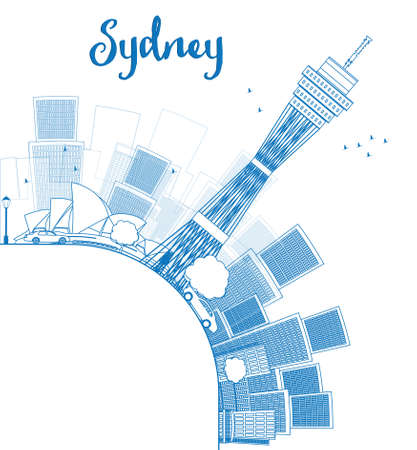 sydney skyline: Outline Sydney City skyline with skyscrapers and copy space. Vector illustration Illustration