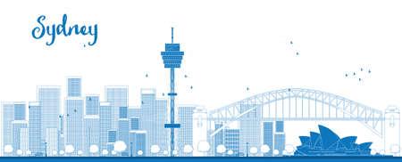 Schetsen Sydney City skyline met wolkenkrabbers. Vector illustratie