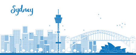 Outline Sydney City skyline with skyscrapers. Vector illustration
