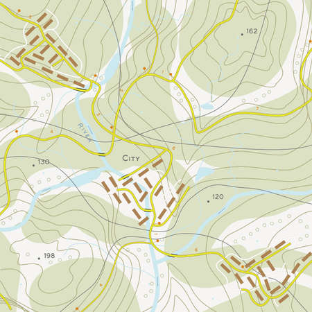 topographic: Topographic map of territory with rivers, forests and roads
