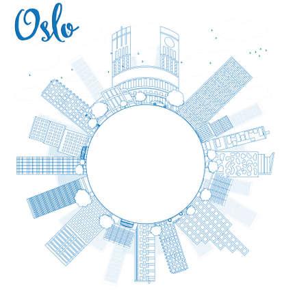 Outline Oslo Skyline with Blue Building and copy space. Vector Illustration Ilustração