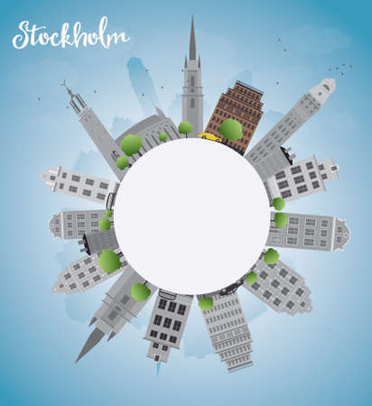 grey sky: Stockholm Skyline with Grey Buildings and Blue Sky with copy space. Vector Illustration Illustration